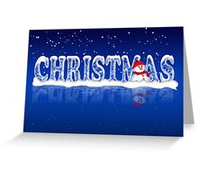 Modern Christmas Card With Snowman  Greeting Card