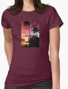 Surfboard sunset Womens Fitted T-Shirt
