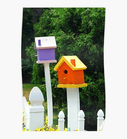 Multi-colored Bird Houses Poster