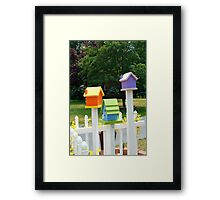 Multi-colored Bird Houses Framed Print
