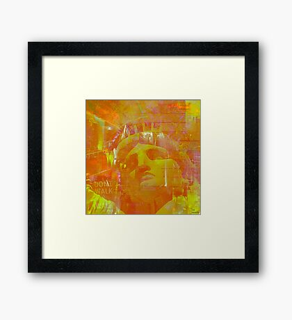 Yellow statue of Liberty Framed Print