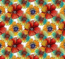 pattern made of flowers in watercolor by ODinovna