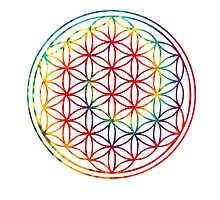 Tie-dye Flower of Life  by kzenabi