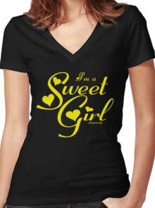 SWEET GIRL Women's Fitted V-Neck T-Shirt