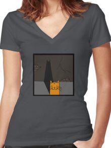 BATCAT Women's Fitted V-Neck T-Shirt