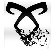 Black Angelic Rune (Birds)  Poster