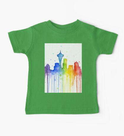 Seattle Rainbow Silhouette Baby Tee