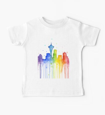 Seattle Rainbow Silhouette Baby Tee
