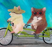 Tandem Hammies; a Tiny Bike Built for Two by ArtbyJoShmo