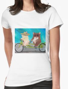 Tandem Hammies; a Tiny Bike Built for Two Womens Fitted T-Shirt