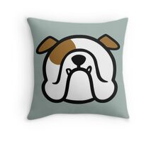 english bulldog - white and brown - smooshfaceunited  Throw Pillow