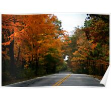 On A Country Road In Autumn Poster