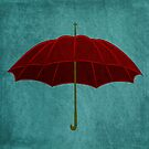Red Umbrella on Denim by nealcampbell