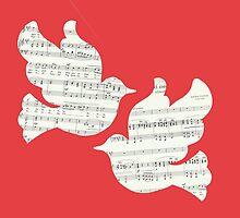 Two Musical Doves - Red & White by sherrelledesign