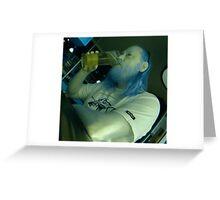 IR self portrait, having a beer Greeting Card