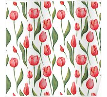 Watercolor Tulips Pattern Poster