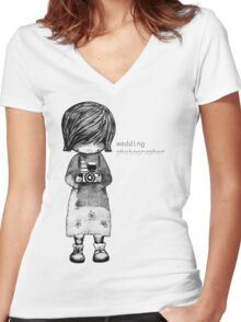 Smile Baby Wedding Photographer  Women's Fitted V-Neck T-Shirt