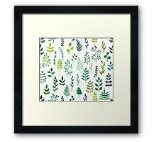 Green floral watercolor pattern Framed Print
