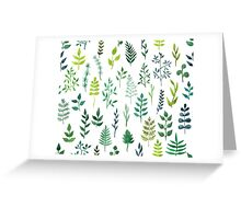 Green floral watercolor pattern Greeting Card