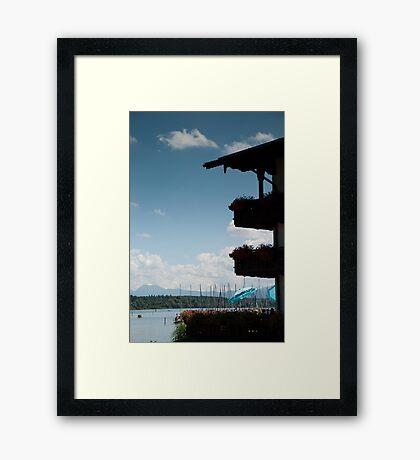 Balconies on Blue Framed Print