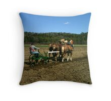 plow horses turning a field Throw Pillow