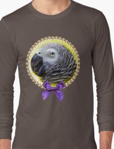 African grey parrot realistic painting Long Sleeve T-Shirt