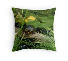 painted turtle on log Throw Pillow