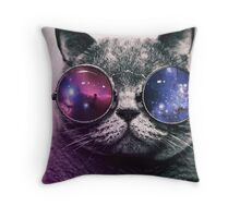 Galaxy Glasses Cat Throw Pillow