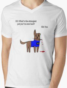 Castle dog Mens V-Neck T-Shirt