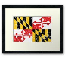 Maryland Flag Distressed Framed Print