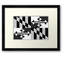 Black and White Maryland Flag Framed Print