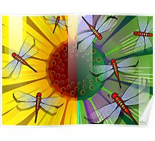 Beauty of the sunflower covered by the dragon flies Poster