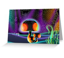 Beauty of mushroom and grass in darkness Greeting Card