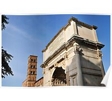 Arch of Titus & bell tower of Santa Francesca Romana, Rome, Italy Poster
