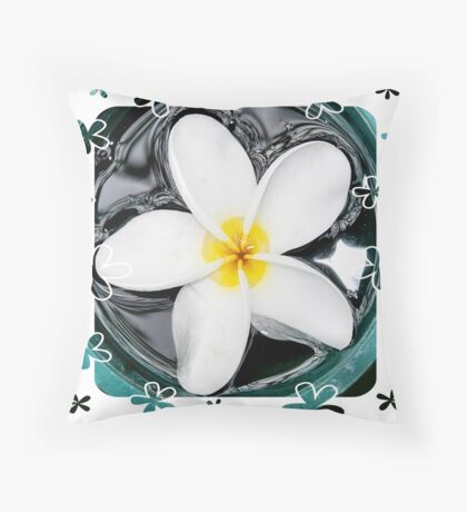 Plumeria in Water Throw Pillow