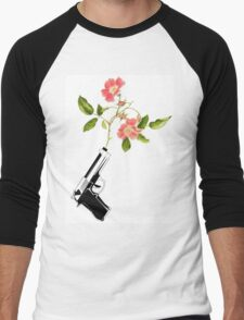 Shoot Flowers, Not Bullets  Men's Baseball ¾ T-Shirt