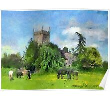 Pastoral scene, Frampton On Severn, Gloucestershire, UK Poster