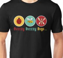 Buzzzy Bugs with Ladybug, Bee and Dragonfly Unisex T-Shirt