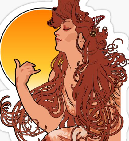 Alphonse Mucha Art Nouveau Vintage Design Sticker
