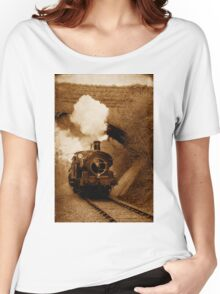 Steam train going under bridge, Shepton Mallet, Somerset, UK Women's Relaxed Fit T-Shirt