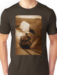 Steam train going under bridge, Shepton Mallet, Somerset, UK Unisex T-Shirt
