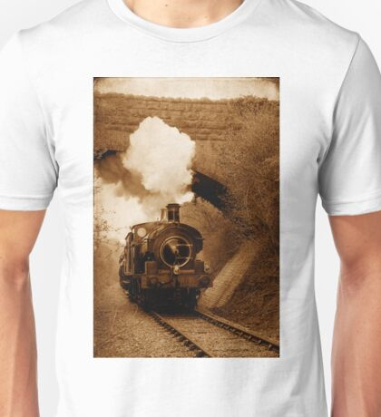 Steam train going under bridge, Shepton Mallet, Somerset, UK Unisex T-Shirt
