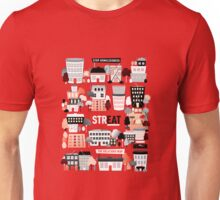Streat Town on Red Unisex T-Shirt