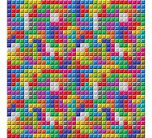 Colored Block Tetris Pattern Photographic Print