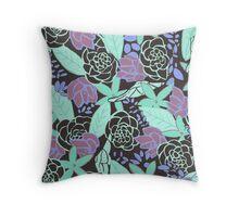 Green Flora Throw Pillow