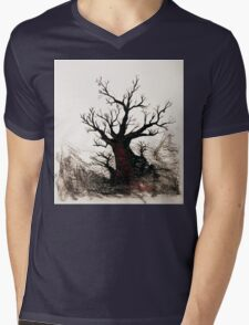 Cherry Blossoms on the Edge Mens V-Neck T-Shirt