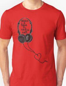 Peace & Love & Rock & Roll - Headphones Unisex T-Shirt