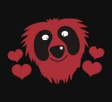 funny red grover like monster with love hearts Kids Tee