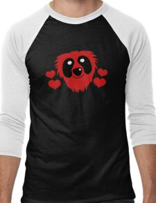 funny red grover like monster with love hearts Men's Baseball ¾ T-Shirt