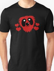 funny red grover like monster with love hearts T-Shirt
